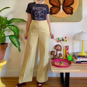 Vintage 70s yellow high waisted plaid flares L 30""